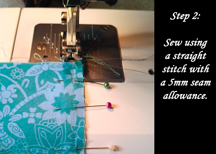 Step Two: Sew using a straight stitch with a 5mm seam allowance. Most of my patterns have a 10mm seam allowance included, so I'm using half of that. You might need to tweak the maths to suit your patterns.
